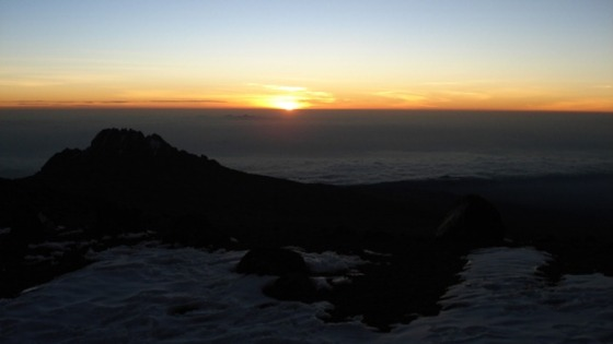 sunrise behind Mawenzi at Stella Point