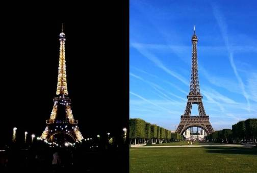 Eiffel Tower- Night and Day