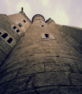 looking up at the castle