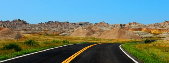 on the road through the Badlands