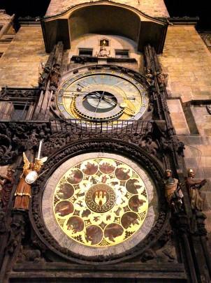 Looking up at Prague's Astronomical Clock