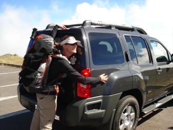 after hiking in Haleakala Crater