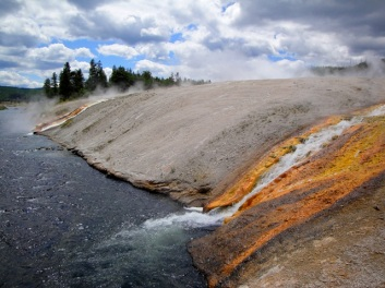 Grand Prismatic Spring waterfalls